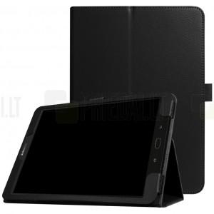 """Samsung Galaxy Tab S3 9.7 (T820, T825) """"Litchi"""" atvēramais melns maciņš"""