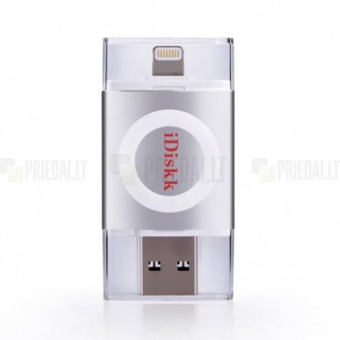 """iDiskk"" Lightning USB 3.0 Flash Drive sudraba 128 Gb atmiņa"