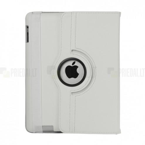 Apple iPad 2, 3, 4 atvēramais balts ādas futrālis, grozās 360° grādu apjomā