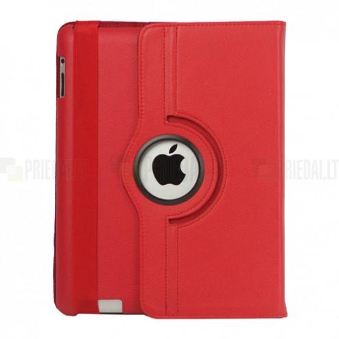 Apple iPad 2, 3, 4 atvēramais sarkans ādas futrālis, grozās 360° grādu apjomā