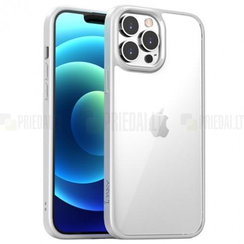 """Apple iPhone 13 Pro Max elegants """"IPAKY"""" Royal dzidrs (caurspīdīgs) silikona apvalks (apmales baltā krāsā)"""