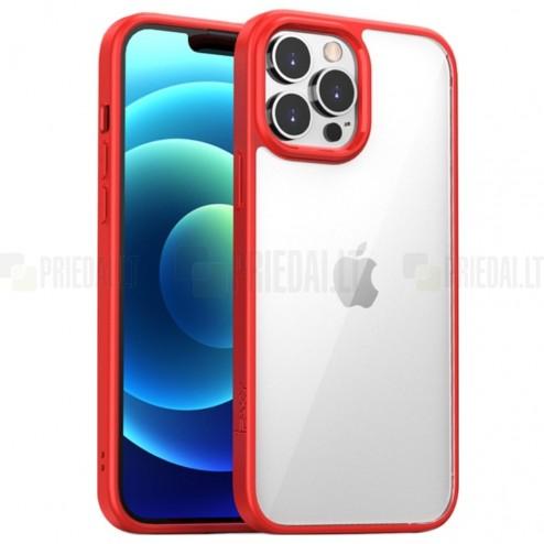 "Apple iPhone 13 Pro Max elegants ""IPAKY"" Royal dzidrs (caurspīdīgs) silikona apvalks (apmales sarkanā krāsā)"