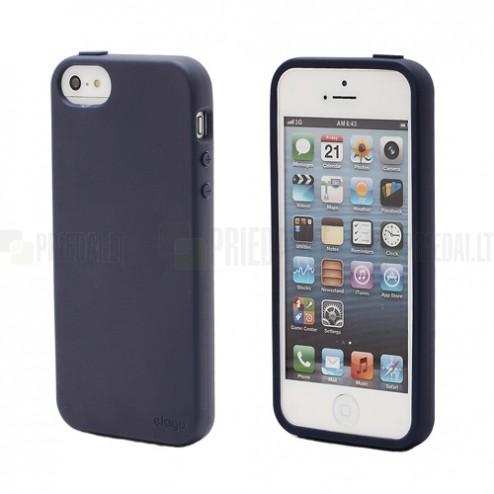 """Elago"" cieta silikona Apple iPhone 5, 5S zils apvalks ar ekrāna aizsargplēve"