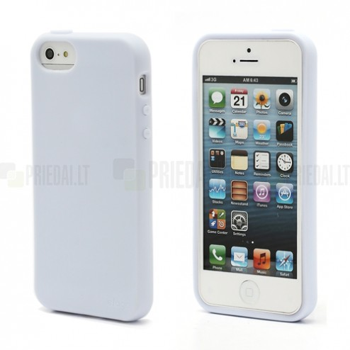 """Elago"" cieta silikona Apple iPhone 5, 5S balts apvalks ar ekrāna aizsargplēve"