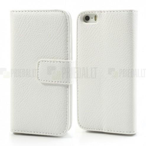 Apple iPhone 5 / 5S atvēramais balts ādas Lychee futrālis - maciņš