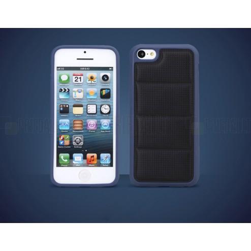 """Melns """"Rock"""" Grid mākslīgas ādas un cieta silikona Apple iPhone 5, 5S apvalks"""