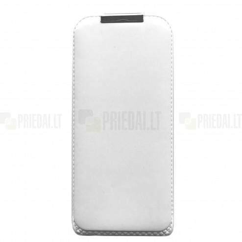 Apple iPhone SE (5, 5s) vertikāli ādas vertikāli atvēramais balts futrālis