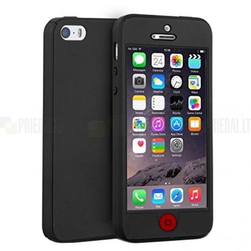 Apple iPhone SE (5, 5s) melns aizsedzams cieta silikona TPU apvalks