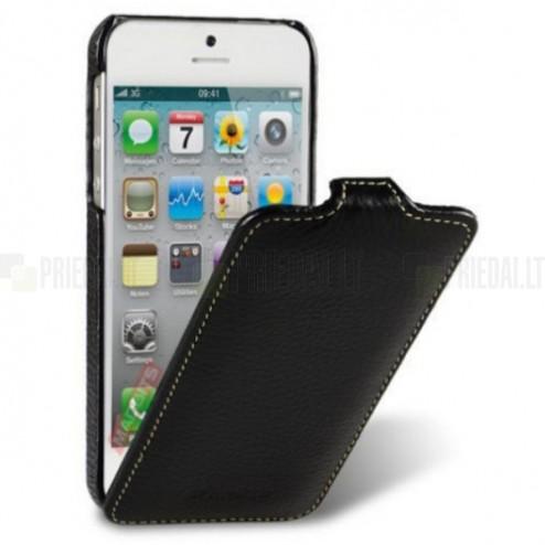Atvēramais melns ādas Apple iPhone 5, 5S, SE maciņš