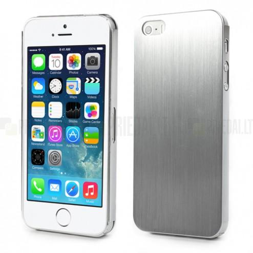 Slīpēta metāla sudrabs Apple iPhone 5, 5S apvalks