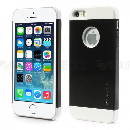 """Melns ar baltiem lenti """"Verus"""" Apple iPhone 5, 5S apvalks"""