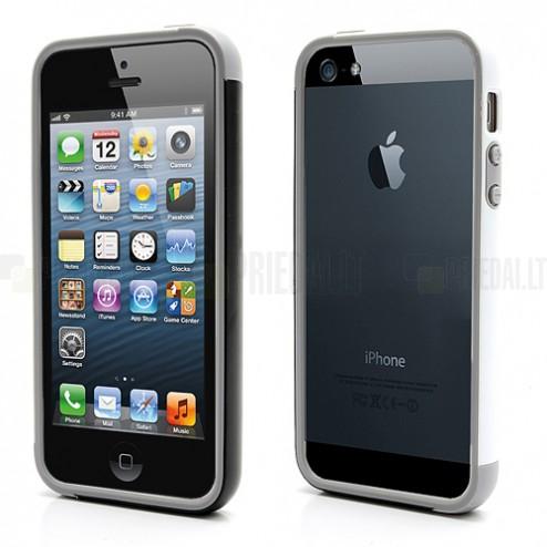 """Baltā, pelēkā un melnā krāsās """"Walnutt"""" Trio cieta silikona Apple iPhone 5, 5S futrālis - rāmis (bamperis - sānu apmale)"""