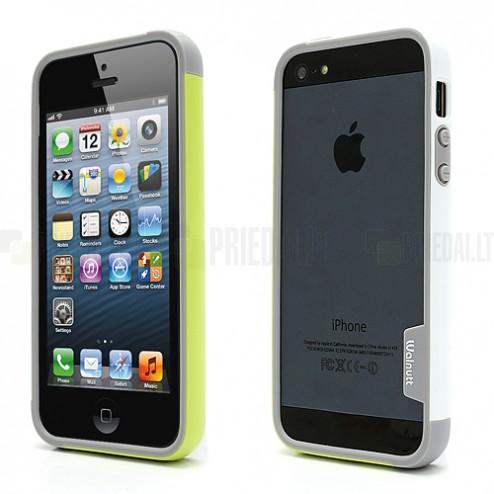 """Baltā, pelēkā un zaļā krāsās """"Walnutt"""" Trio cieta silikona Apple iPhone 5, 5S futrālis - rāmis (bamperis - sānu apmale)"""
