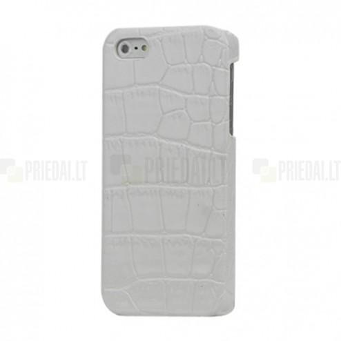 Apple iPhone 5S balts telefona apvalks ar krokodila ādas imitāciju