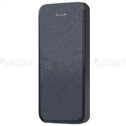 """Apple iPhone SE (5, 5s) """"Shiny"""" atvēramais ādas melns maciņš - maks"""