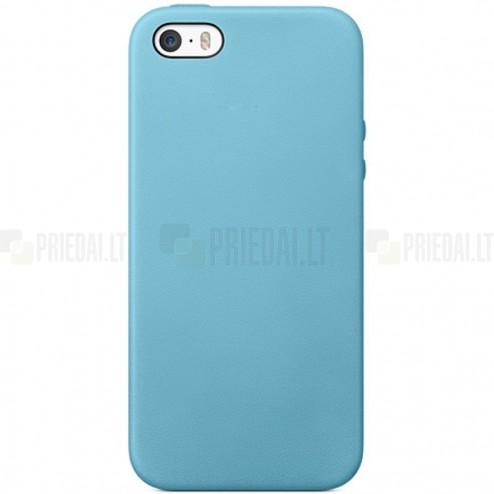 Apple iPhone 5S (5) cieta silikona (TPU) gaiši zils apvalks