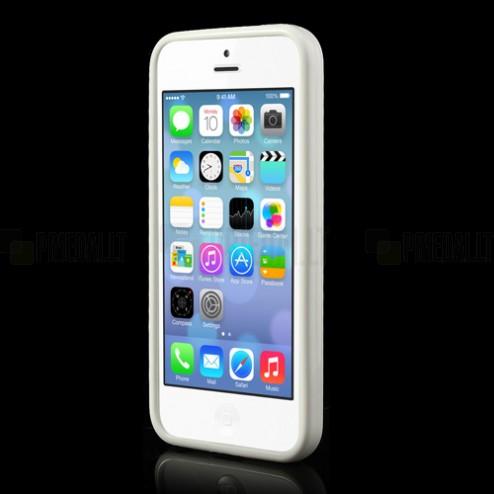 Apple iPhone 5C plastmasas dzidrs (caurspīdīgs) un balts futrālis