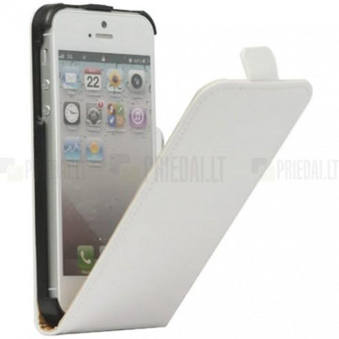 Apple iPhone 5S klasisks vertikāli atvēramais ādas balts maciņš