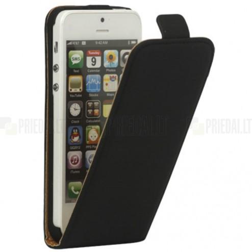 Apple iPhone 5S klasisks vertikāli atvēramais ādas melns maciņš