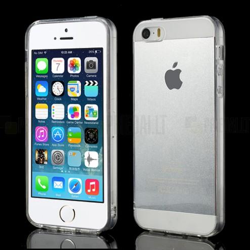 Apple iPhone 5S dzidrs (caurspīdīgs) cieta silikona TPU pasaulē planākais balts futrālis
