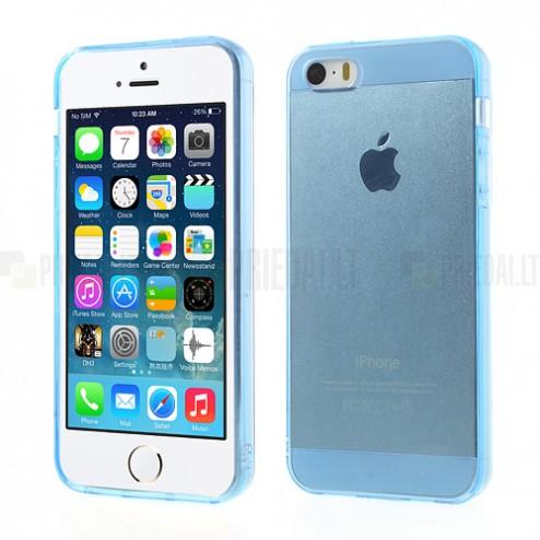 Apple iPhone 5S dzidrs (caurspīdīgs) cieta silikona TPU pasaulē planākais zils futrālis