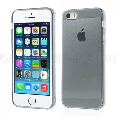 Apple iPhone 5S dzidrs (caurspīdīgs) cieta silikona TPU pasaulē planākais pelēks futrālis