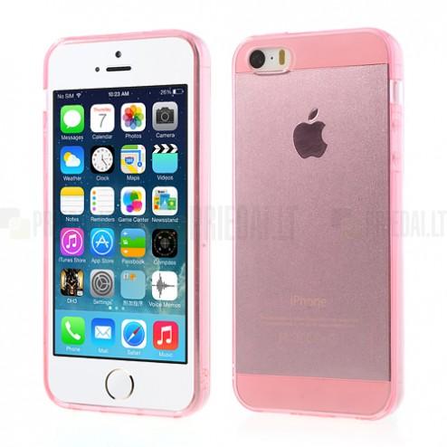 Apple iPhone 5S dzidrs (caurspīdīgs) cieta silikona TPU pasaulē planākais rozs futrālis