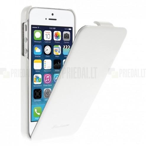 Apple iPhone 5s vertikāli atvērams ādas balts klasisks maciņš