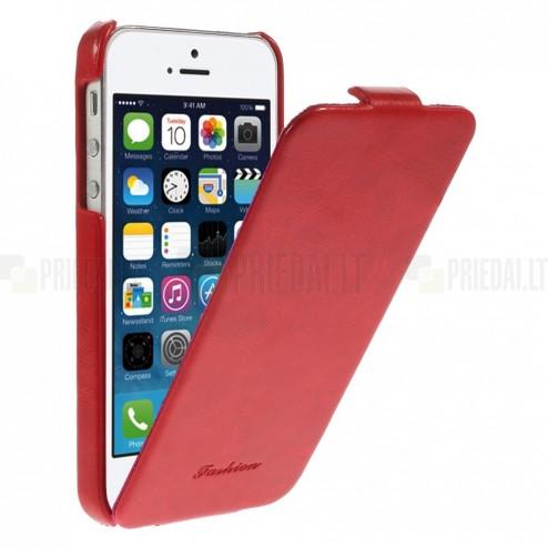 Apple iPhone 5s vertikāli atvērams ādas sarkans klasisks maciņš