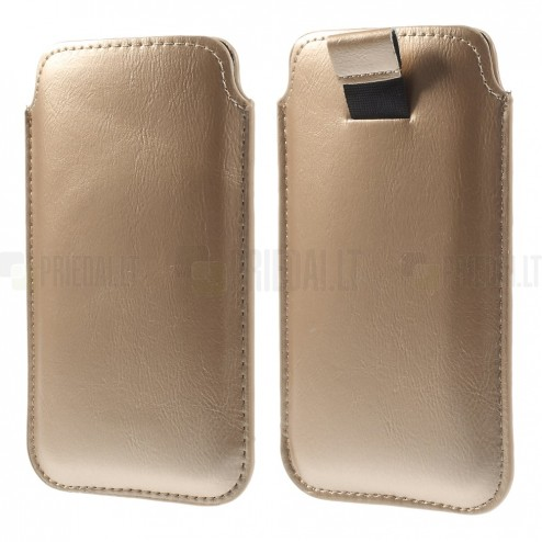 Zelta ādas telefona ieliktņa (L izmērs - Apple iPhone 6)