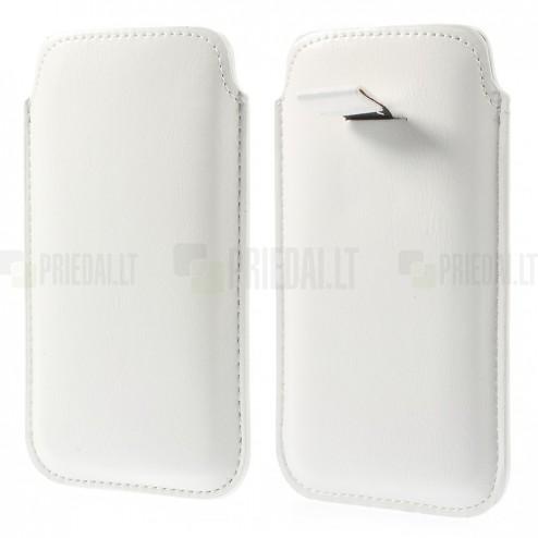 Balta ādas telefona ieliktņa (L izmērs - Apple iPhone 6)