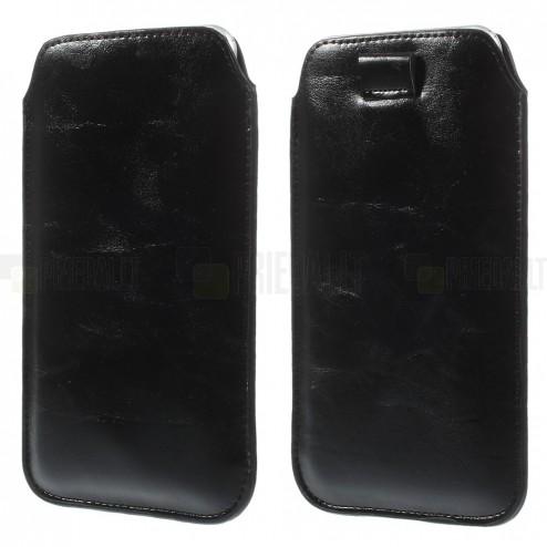 Melna ādas telefona ieliktņa (XL izmērs - Apple iPhone 6 Plus)