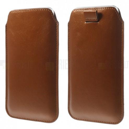 Brūna ādas telefona ieliktņa (XL izmērs - Apple iPhone 6 Plus)