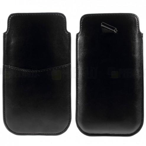 Universāla Apple iPhone 6 Plus melna ādas telefona ieliktņa (XL+ izmērs)