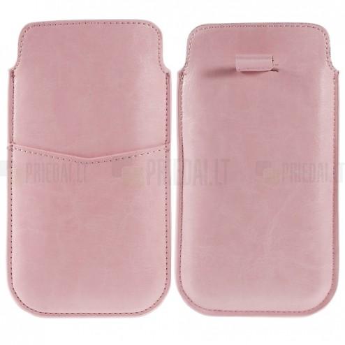 Universāla Apple iPhone 6 Plus roza ādas telefona ieliktņa (XL+ izmērs)