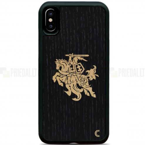 "Apple iPhone X (iPhone Xs) ""Crafted Cover""  Melns Vytis dabīga koka telefona apvalks"