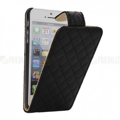 Atvēramais melns ādas Apple iPhone 5, 5S maciņš