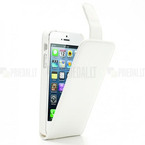 Apple iPhone 5, 5S klasisks ādas vertikāli atvēramais balts futrālis