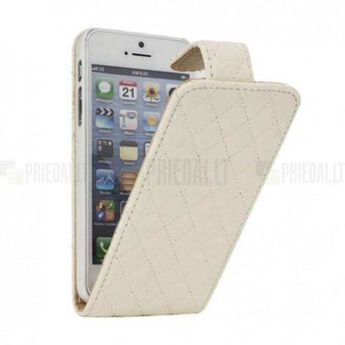 Atvēramais balts (smilšu krāsā) ādas Apple iPhone 5, 5S maciņš