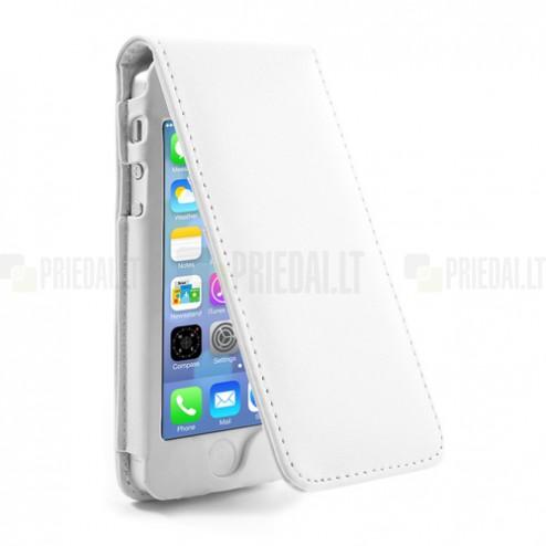 Vertikaliai ādas atvērams balts Apple iPhone 5, 5S futrālis