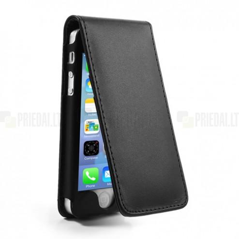 Vertikaliai ādas atvērams melns Apple iPhone 5, 5S futrālis