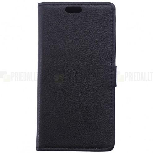 Asus Zenfone 2 5.0 (ZE500CL) atvēramais melns ādas Litchi maciņš - maks