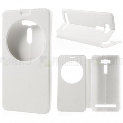 Asus Zenfone 2 Laser 6.0 (ZE600KL, ZE601KL) balts atvēramais View Window ādas maciņš