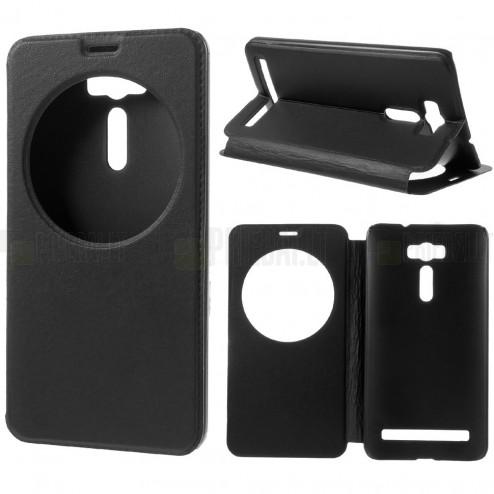 Asus Zenfone 2 Laser 6.0 (ZE600KL, ZE601KL) melns atvēramais View Window ādas maciņš