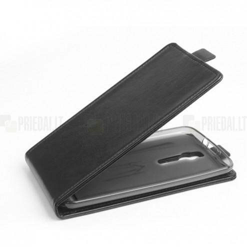 Asus Zenfone 2 5.0 (ZE500CL) klasisks ādas vertikāli atvēramais melns maciņš