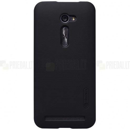 Asus Zenfone 2 5.0 (ZE500CL) Nillkin Frosted Shield melns plastmasas apvalks + ekrāna aizsargplēve