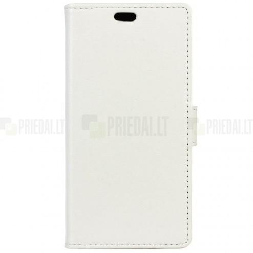 Asus Zenfone Max (ZC550KL) atvēramais ādas balts maciņš (maks)