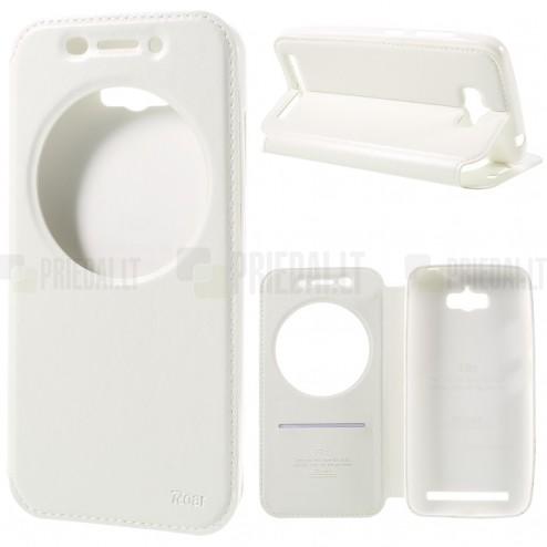 Asus Zenfone Max (ZC550KL) Roar Noble ādas atvēramais balts futrālis