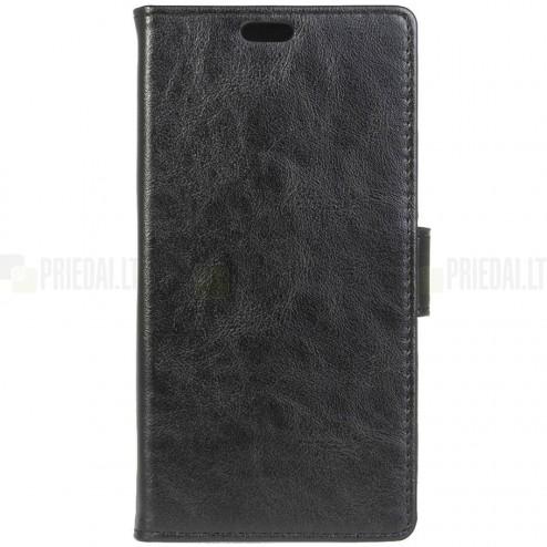 Asus Zenfone Max (ZC550KL) atvēramais ādas melns maciņš (maks)