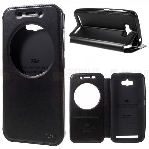 Asus Zenfone Max (ZC550KL) melns atvēramais Smart Window ādas maciņš